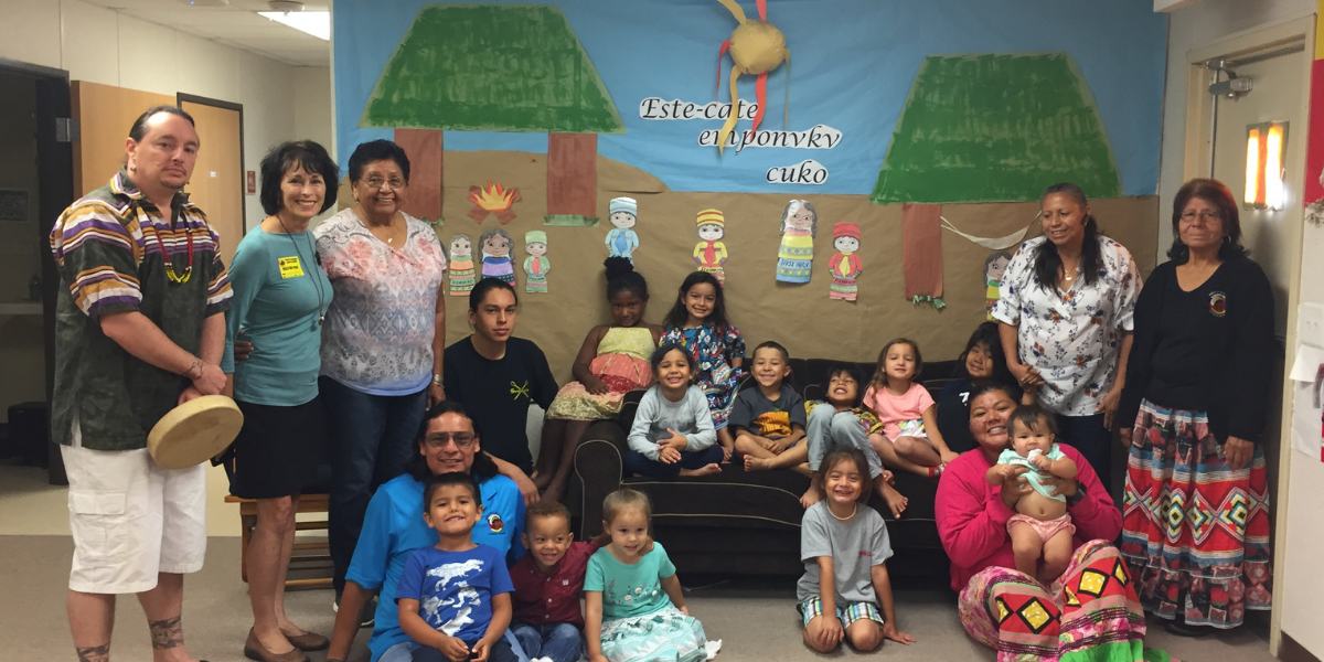 Group shot at Pemayetv Emahakv Charter School on the Brighton Seminole Indian Reservation