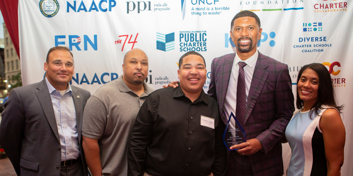 Jalen Rose Leadership Academy staff and a student attends the 2nd Annual Charter School Leadership Awards and Reception