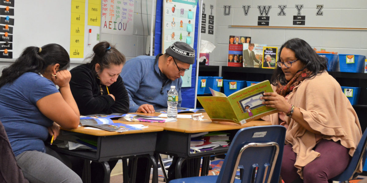 Adult group at the Ocean Academy Charter School Latino Family Literacy Program