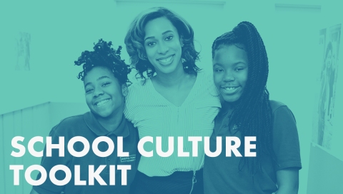 School Culture Toolkit graphic featuring charter school students and teacher from Digital Pioneers Academy