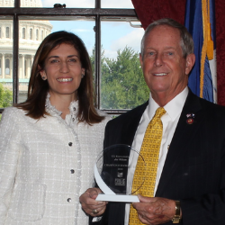 Nina Rees, president & CEO of the National Alliance, with 2019 Champion for Charters Rep. Joe Wilson holding his award