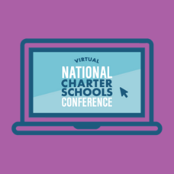 Virtual National Charter Schools Conference logo with purple background